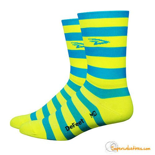 "Calcetines ciclismo Defeet Aireator 5"" D-Logo Stripers Blue/Yellow"