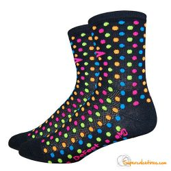 "Calcetines ciclismo DeFeet Aireator 4"" Spotty Black w/Multi Color Hi-Vis Spots"